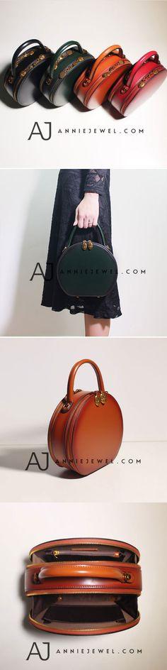 GENUINE LEATHER ROUND HANDBAG HANDMADE SHOULDER BAG CROSSBODY BAG PURSE CLUTCH FOR WOMEN