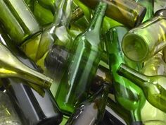 cut glass bottles with string and nail polish remover