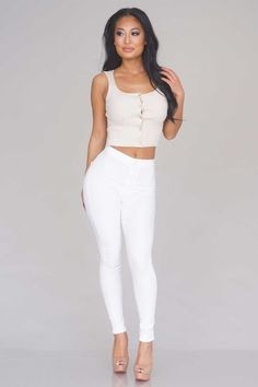 Button Ribbed Crop Top - Beige - New Arrivals