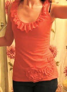 Refashioning a t-shirt into a flower ruffle tank top.