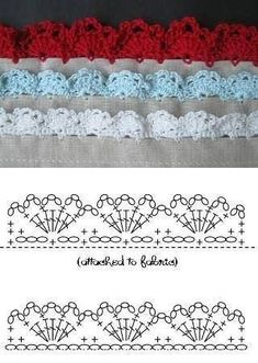 If you looking for a great border for either your crochet or knitting project, check this interesting pattern out. When you see the tutorial you will see that you will use both the knitting needle and crochet hook to work on the the wavy border. Crochet Border Patterns, Crochet Lace Edging, Crochet Diagram, Crochet Chart, Lace Patterns, Crochet Trim, Filet Crochet, Stitch Patterns, Knitting Patterns
