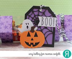 DIY Halloween treat ensemble by Amy Kolling. Reverse Confetti stamp sets: Treat Yo' Self and Seeing Stars (stamped on Grape Soda RC Cardstock). Confetti Cuts: Web Tag Layer, Halloween Bits, Pumpkin Patch and Treat Tube Topper. Other: Charcoal Twine and plastic Treat Tubes.