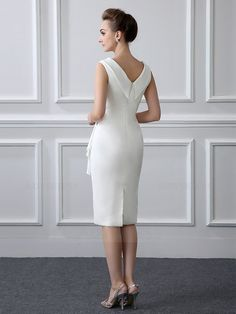 Sheath/Column Tea-length Satin V-neck Mother of the Bride Dress with Short Sleeve Casual Dresses, Short Dresses, Fashion Dresses, Dresses For Work, Prom Dresses, Formal Dresses, Wedding Dresses, Cocktail Dressing, Tea Length Dresses