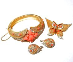 Coral, Rhinestone Trifari Set with Bracelet, Butterfly Pin and Earrings