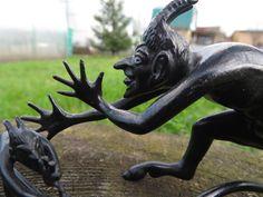 Two black iron devils. Russian vintage. Metal figurines. Soviet vintage cast iron. USSR sculpture miniatures. Soviet collectible home decor