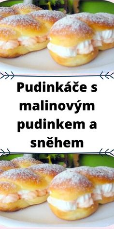Pudinkáče s malinovým pudinkem a sněhem Hot Dog Buns, Hot Dogs, Hamburger, Bread, Food, Brot, Essen, Baking, Burgers