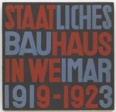 Cover design of Staatliches Bauhaus in Weimar designed by Walter Gropius and Herbet Bayer. Examples of colour schemes. Herbert Bayer, Walter Gropius, Art Nouveau, Art Deco, Wassily Kandinsky, Moma, Metropolitan Museum, Cover Design, Design Art