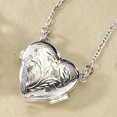 Florentined Sterling Silver Heart Locket