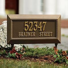 """Farrington Estate Address Plaque - Bronze, Wall - Frontgate by Frontgate. $225.00. 24""""W x 12-1/2""""H, 8-3/4 lbs.Monogram/name letters will appear in the order in which they are entered."""