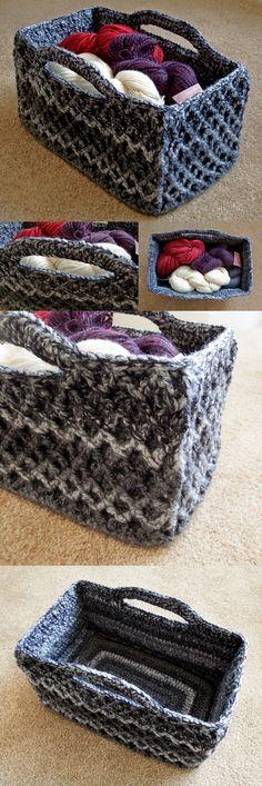 Rectangular Diamond Trellis Basket – Free crochet pattern with video tutorial!