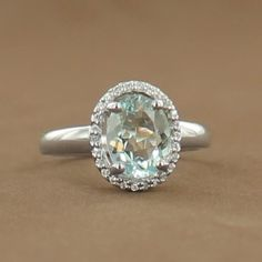 Sterling Silver Rhodium-Plated Aquamarine and Cubic Zirconia Oval Ring $269.00 #jewelry