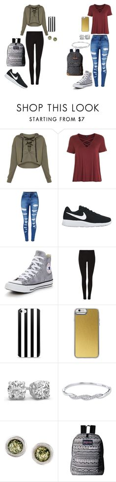 """Which side?"" by hlogan1220 on Polyvore featuring Topshop, WithChic, NIKE, Converse, Casetify, Be-Jewelled and JanSport"