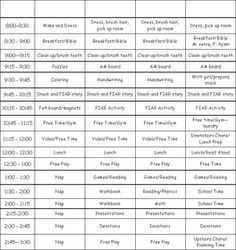 Not Before 7 Teaches: Our Homeschool Schedule 2009
