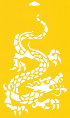 """12"""" x 7"""" (30cm x 17.5cm) Reusable Flexible Plastic Stencil for Cake Design Decorating Wall Home Furniture Fabric Canvas Decorations Airbrush Drawing Drafting Template - Oriental Chinese Dragon Monster"""