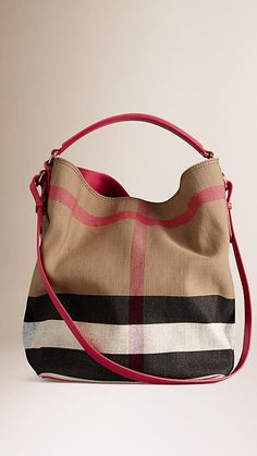 Pink azalea The Medium Ashby in Canvas Check and Leather - Image 3