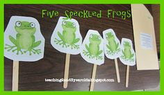 Five green frog song and puppets...