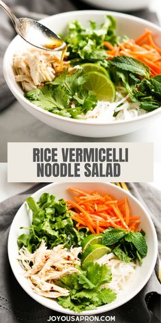 Rice Vermicelli Noodle Salad - healthy, fresh and easy Asian inspired salad recipe with rice noodles, carrots, rotisserie chicken, lettuce and mint leaves, topped with a flavorful fish sauce dressing. Perfect for a quick and tasty lunch or dinner! Vermicelli Noodles, Rice Noodles, Healthy Weeknight Meals, Healthy Salads, Casserole Recipes, Crockpot Recipes, Vietnamese Noodle Salad, Rice Noodle Recipes, Rotisserie Chicken Salad