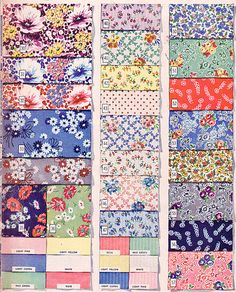 fabric samples quilt and bedding colors Vintage Textiles, Vintage Quilts, Vintage Patterns, Vintage Sewing, Vintage Clothing, Fabric Patterns, Sewing Patterns, Retro Fabric, Fashion Moda