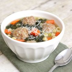 Italian Wedding Soup by Tracey's Culinary Adventures,Still the best. Italian Recipes, Great Recipes, Soup Recipes, Dinner Recipes, Cooking Recipes, Favorite Recipes, Recipies, Savoury Recipes, Easy Cooking