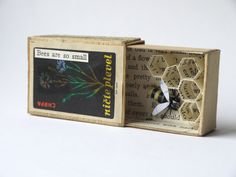 Tiny Bee Hive in a Matchbox - paper sculpture by Kasasagi on Etsy https://www.etsy.com/listing/242591731/tiny-bee-hive-in-a-matchbox-paper