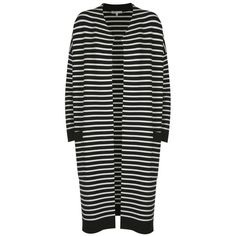 Maje Milan Striped Coatigan ($590) ❤ liked on Polyvore featuring tops, cardigans, striped knit top, stripe cardigan, striped cardigan, cardigan jacket and layering cardigans