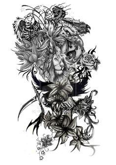 Half Sleeve Tattoo Designs Drawings   Digital sleeve tattoo design by deltaman15