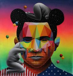 Okuda Prince From Nowhere - 2015 Synthetic enamel on canvas 100 x 100 cm 'RED' - Expressionism Group Exhibition at SOFITEL Gold Coast