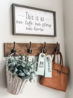 Decor Styles Entry way decorating ideas with a cute hook and decor By Wilshire Collections Home decor ideas, Farmhouse, Farmhouse decor, decorating, decorating styles Sweet Home, Diy Casa, Farmhouse Side Table, Decoration Originale, Easy Home Decor, Cute Home Decor, Home Decor Styles, Cute Wall Decor, Home Decor Signs