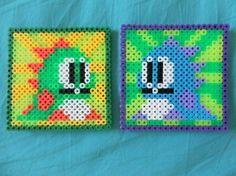 Bubble Bobble nintendo perler bead coasters. PerlerGirl on Etsy.