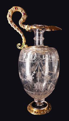 Crystal ewer from lavabo set of Sigismund III Vasa by Anonymous from Milan, ca. 1600, Schatzkammer der Residenz München