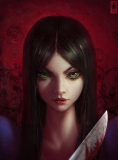 alice:_madness_returns alice_(wonderland) alice_in_wonderland american_mcgee's_alice black_hair blood close-up dress face green_eyes highres knife lips long_hair looking_at_viewer paul_kwon photorealistic realistic smile solo weapon Alice Liddell, Alice Madness Returns, Dark Fantasy, Fantasy Characters, Female Characters, 1366x768 Wallpaper, Arte Peculiar, Illustration Photo, Adventures In Wonderland
