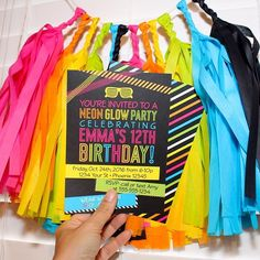 Sunny summer birthdays call for bright party themes! We've made your party planning easy with our Neon Glow Party invites & matching party decor! Shop this theme via link in profile!