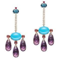 One-of-a-Kind Amethyst Turquoise Ruby Diamond Girandole Earrings | From a unique collection of vintage dangle earrings at https://www.1stdibs.com/jewelry/earrings/dangle-earrings/