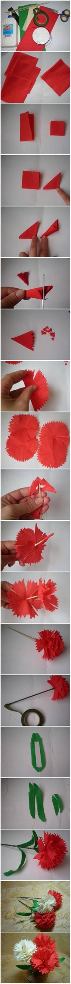 DIY Crepe Paper Carnation #craft #decor #paper #flower