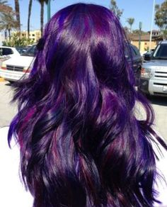 DIY Hair: 10 Purple Hair Color Ideas Can't decide which shade of purple to dye? Check out this list of 10 shades, including Manic Panic, Joico, and Pravana's violet hair dyes! Love Hair, Gorgeous Hair, Coiffure Hair, Hair Color Purple, Dark Purple, Deep Purple Hair, Bright Purple, Purple Dye, Pastel Blue