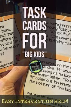 """Task cards for """"big kids""""--and how we can use short texts to help our """"gray area"""" readers.  Suggestions for teaching and book ideas for those students below grade level as well!"""