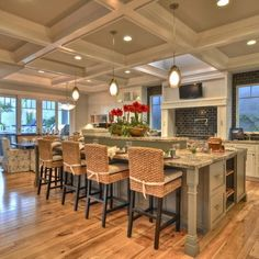 Craftsman style home- love the coffered ceiling! Home Kitchens, House Styles, Kitchen Design, House Design, Sweet Home, Craftsman Style Home, Kitchen Style, Hickory Flooring, Craftsman Kitchen