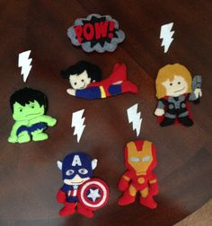 My felt superhero mobile characters all together!