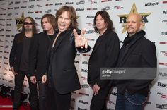 John Leven, Mic Michaeli, Joey Tempest, John Norum and Ian Haugland of Europe attend the Classic Rock Roll of Honour at The Roundhouse on November 11, 2015 in London, England.