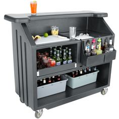 "Cambro BAR540191 Cambar Granite Gray 54"" Portable Bar with 5-Bottle Speed Rail"