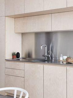 Larissa Johnston Architects Clean-Lined Birch Plywood Kitchen Remodel, Rory Gardiner Photo