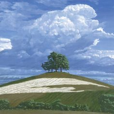 Brightwell Barrow I 2011 - Painting Archive - Work - The Roger Wagner Website Sky Painting, Painting & Drawing, Landscape Art, Landscape Paintings, Cityscape Art, Grain Of Sand, English Countryside, Big Sky, Clouds