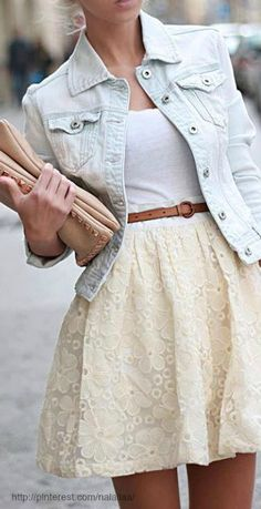 light wash jean jacket - cream lace skirt - little brown braided belt - white tee