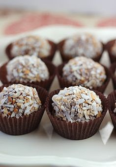 Chocolate Coconut Truffles (cream cheese, powdered sugar, milk chocolate chips,vanilla extract,coconut extract,shredded coconut)