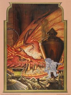 Art Print: Invisible Thief (Bilbo and Smaug) by Steve Hickman : Tolkien, Framed Artwork, Wall Art, Lighted Canvas, Fantastic Art, The Hobbit, Hobbit Book, Middle Earth, Lord Of The Rings