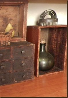 English Mustard Profit Small Antique Furniture Vintage Antiqued Wooden Chest Trug