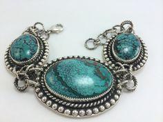 Argento Bello- Artist Amberlie Bandini. Sterling Silver set Turquoise. Large statement bracelet. Bought by collector Jennifer Johnson.