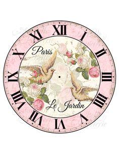 Shabby Chic francese orologio-fai da te ispirato fronte di
