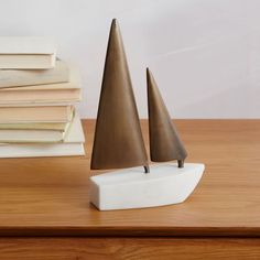 Sailboat Object - White Marble/Antique Brass   west elm