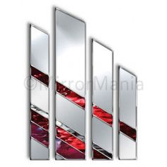 Red Wall Mirror sahara original handcrafted coloured glass 2 piece artistic wall